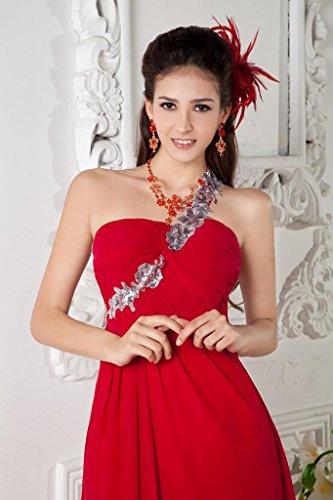 mit Abendkleid rote Perlen GEORGE Rot elegante BRIDE Straps Schulter Ein Chiffon xEYnpqUw0q