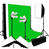 Lusana Studio Lighting Softbox Backdrop Black Green White Background Muslin