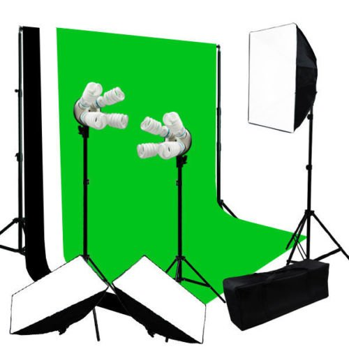 Lusana Studio Lighting Softbox Backdrop Black Green White Background Muslin by Gogad