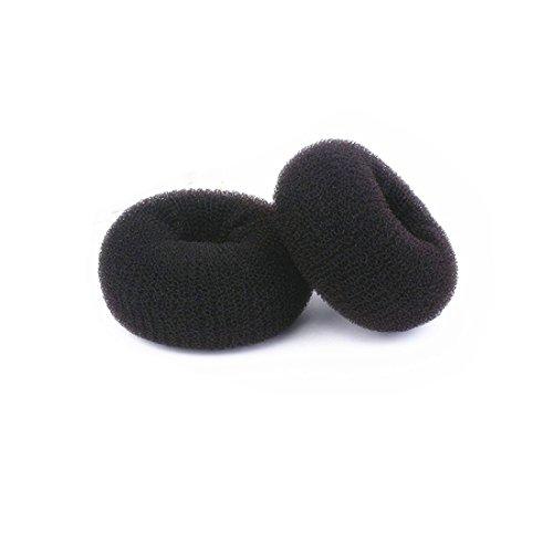 ThunderStar Large Black Hair Donut Bun Maker Former Doughnut Shaper Ring Styling Roll Updo Styler Tool Curler 3.94 in (set of 2)