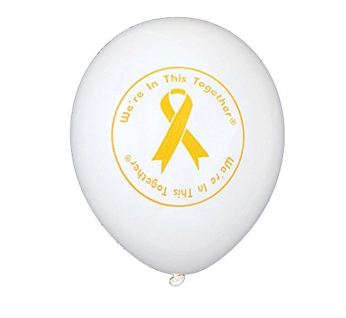 Childhood Cancer Awareness Gold Ribbon Awareness Balloons in White (50 count) by Autism Awareness Shop