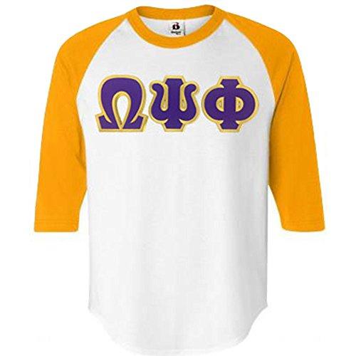 Fraternity Baseball (Omega Psi Phi Fraternity Greek Lettered Raglan Baseball T-Shirt Large White w/Gold)