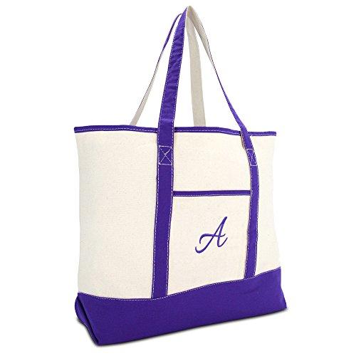 DALIX Women's Canvas Tote Bag Shoulder Bags Open Top Purple Monogram ()
