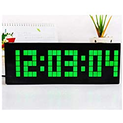 LED Electronic Lattice Alarm Clock, Large Big 4 6 Digit Jumbo LED Digital Alarm Calendar Silent Luminous Digital Timer (Green)