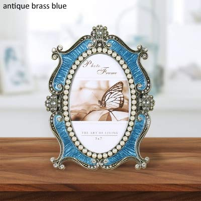 Golden Store129 Vintage Oval Picture Frame 5x7 inches Antique Brass with Blue Hand Enameled and White Pearls Jeweled