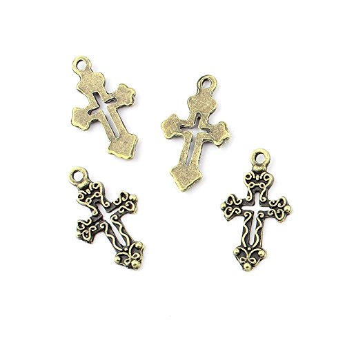 30 pieces Anti-Brass Fashion Jewelry Making Charms 3212 Cross Wholesale Supplies Pendant Craft DIY Vintage Alloys Necklace Bulk Supply Findings -
