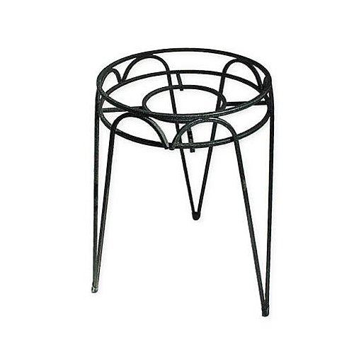 Black Wrought Iron Stand - Border Concepts 72240 Wrought Iron Hampton Plant Stand, 15-Inch, Black