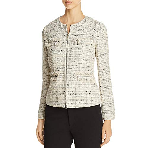Lafayette 148 New York Womens Emelyn Tweed Metallic Jacket Ivory 12 (Tweed New Jacket York)