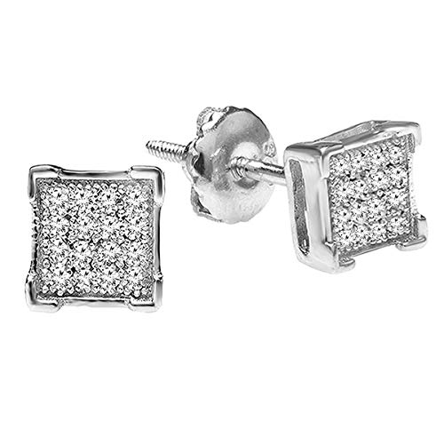Dazzlingrock Collection 0.06 Carat (ctw) White Diamond V Prong Square Mens Hip Hop Iced Stud Earrings, Sterling Silver (Authentic Stud Earrings)