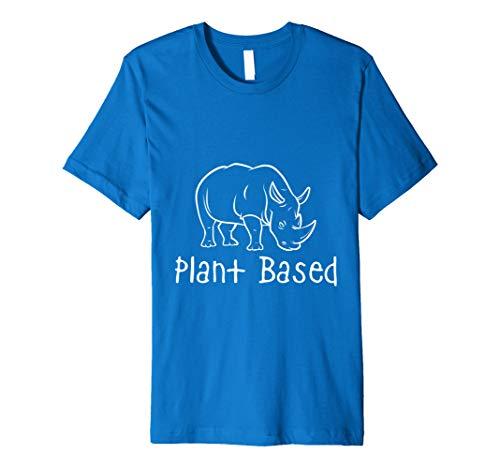 Plant Based | Funny Vegan Rhino Shirt | Mens Womens Top ()
