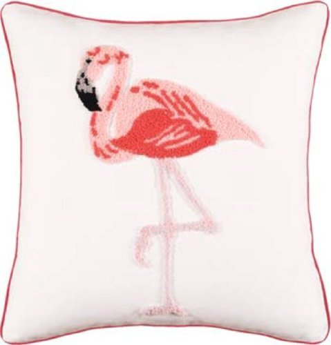 Tropical Pink Flamingo Hooked Wool Accent Throw Pillow