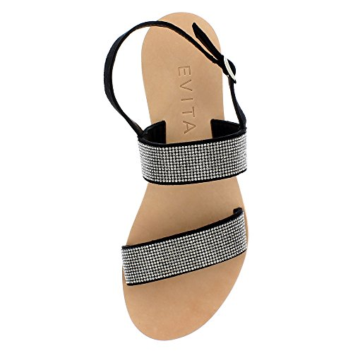 Shoes Sandale Femme Evita Greta Noir Daim 0xwE6d7