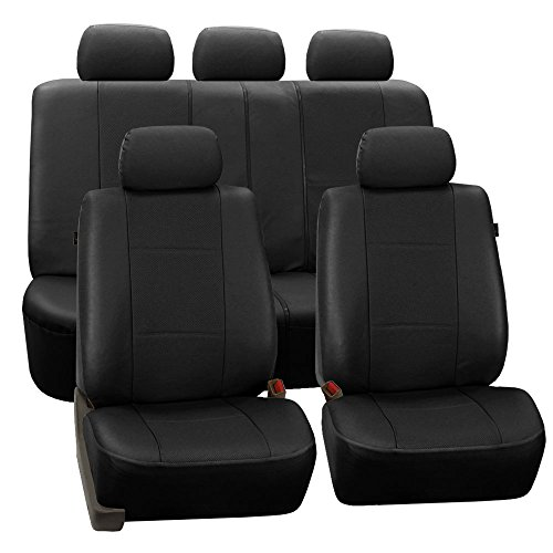 - FH Group PU007BLACK115 Universal Fit Full Set Deluxe Seat Cover - Leatherette Airbag Compatible and Rear Split, Fit Most Car, Truck, SUV, or Van