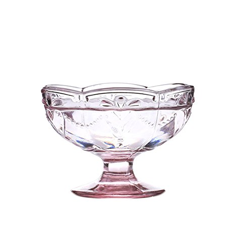 CHOOLD Vintage Romantic Glass Footed Sakura Shape Heart Reliefs Dessert Bowl Ice Cream Bowl Dish Bowl Trifle Bowl Salad Bowl 6oz