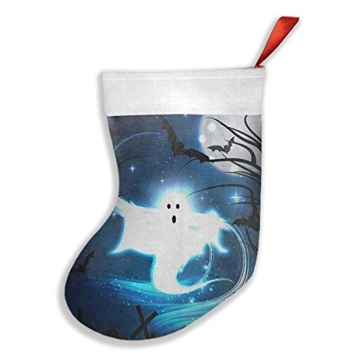 Usvbzd Custom Christmas Stockings Halloween Night Ghost Bat Forest Moon Hot Christmas Accessory Socks]()