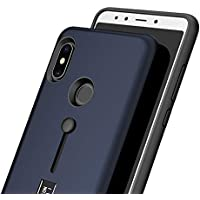 Ntron Dual Layer TPU + Pc with Stand & Finger Holder Back Case Cover for Xiaomi Mi Redmi Note 5 Pro (Matte Blue)