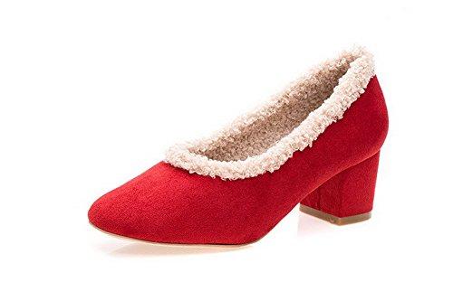 AllhqFashion Mujeres Tacón ancho Colores Surtidos Puntera Redonda Cerrada De salón Rojo