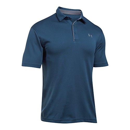 Logo Print Polo - Under Armour UA Men's Tech Ribbed Golf Polo Shirt 1290140 (Turquoise, L)