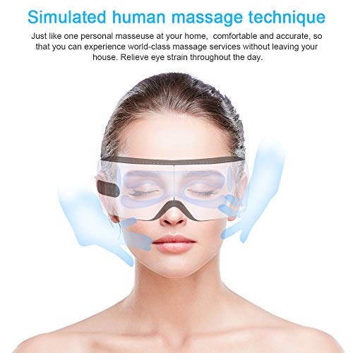 Electric Eye Massager with Heat, Bluetooth Music, Voice Broadcast, Rechargeable Wireless Shiatsu Eye Temple Massager Stress Relief Machine Warm Compress for Dark Circles Puffy Eye Bags Dry Eye