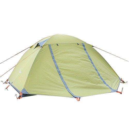 3 season 2-person Double Layer Waterproof Dome Backpacking Tent For Camping Hiking Travel Climbing - Easy Set Up(Green)