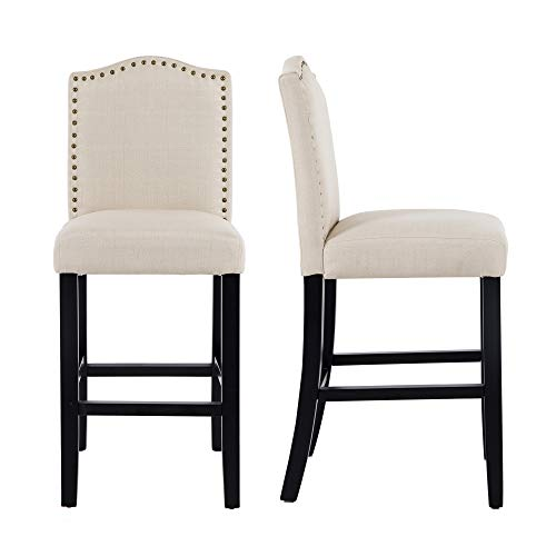 LSSBOUGHT 24 Inches Fabric Counter Height Stools with Solid Wood Legs and Nailed Trim, Set of 2(Beige)