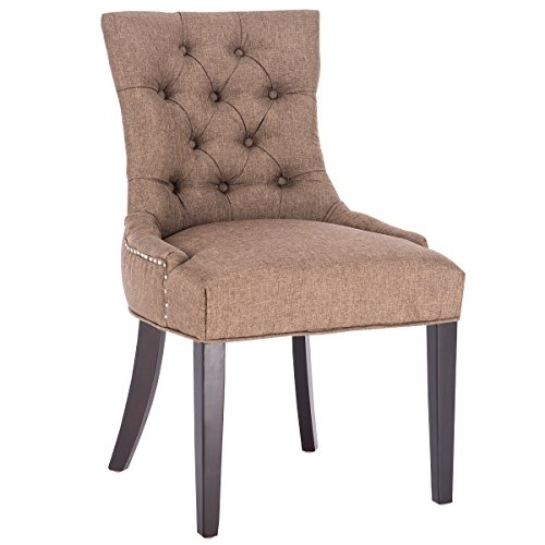 (Giantex Fabric Dining Chair Button-Tufted Upholestered with Solid Wood Legs (Brown))