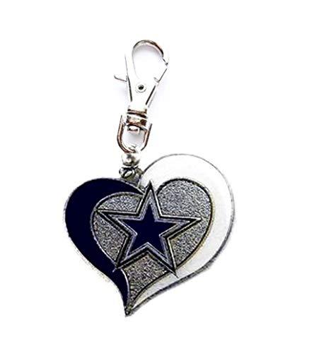Heavens Jewelry Dallas Cowboys Football Team Heart Charm ADD to Zipper Pull PET Dog CAT Collar Leash Keychain -