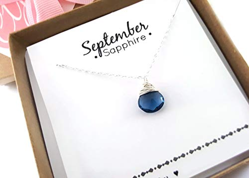 - September Birthstone Sapphire Quartz Necklace - Sterling Silver Briolette Teardrop Jewelry - Gift for Her