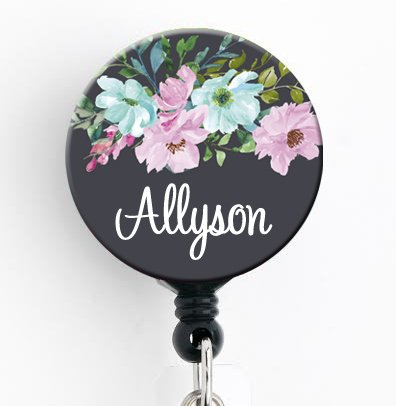 (Retractable Badge Reel - Mint Pink Floral - Personalized Name - Badge Holder/Nurse Gift/Teacher Gift/Stocking)