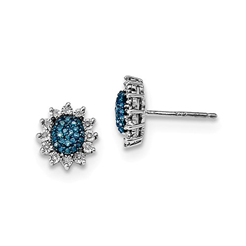 Sterling Silver Blue and White Diamond Post Earrings by CoutureJewelers
