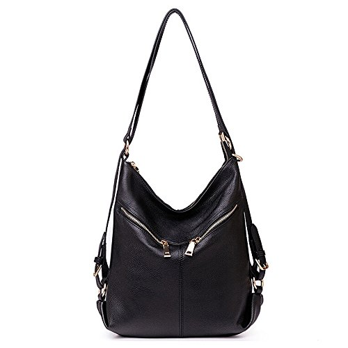 Zipper Black Backpack Daypack Womens Convertible SEALINF Handbag Bag Shoulder Leather tAFq1