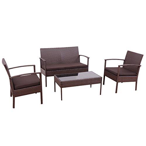 Tangkula 4 PC Outdoor Wicker Furniture Set Patio Garden Pool Rattan Loveseat Sofa Cushioned by Tangkula