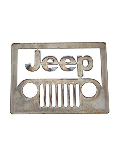 - Jeep Front View Emblem Rough Cut Steel Sign