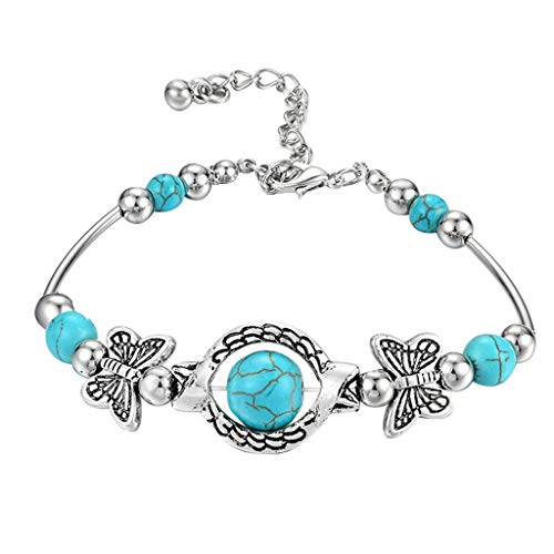 TONGHANG Women's Turquoise Bracelet Classic Luxury Summer Unique Design Beaded Imitation Gemstone Butterfly Bracelets Jewelry Gift for Women Girls (1pcs,B)