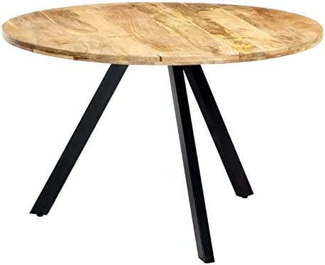ZAMAX Extra Large Solid Mango Wood Round Industrial Style Dining Table