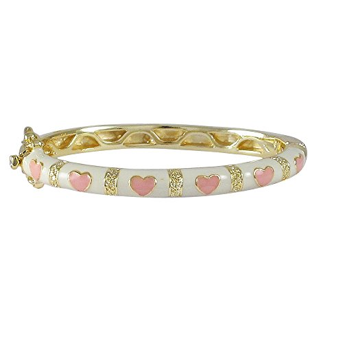 Ivy and Max Gold Finish White Enamel Pink Hearts Girls Bangle Bracelet (42mm) (Heart Enamel Gold)