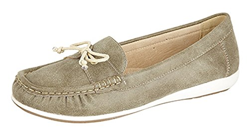Ladies L468 Leather Lined Moccasin Summer Casual Olive mdPH3E