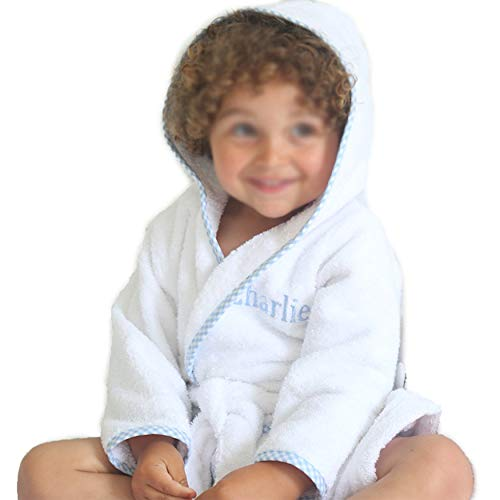 Prince George Style Kids Bathrobe. Luxury Kids Hooded Bathrobe White and Blue Checkered Binding. for Toddlers Turkish Terry Bathrobe Cute and Cuddly. Super Soft and Absorbent. (Blue) -