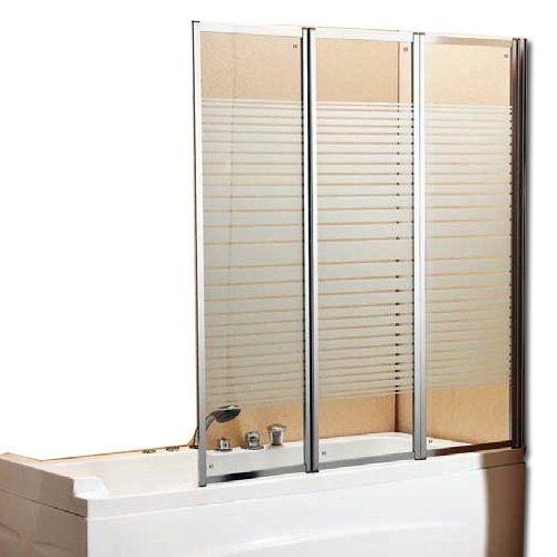 Badewannen-Aufsatz/ Duschkabinen-Wand, Glas mit Siebdruck-Dekor, 140x130cm