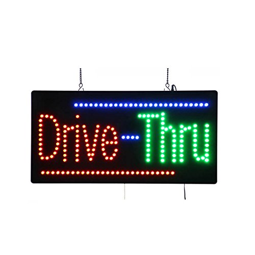 LED Drive Thru Open Light Sign Super Bright Electric Advertising Display Board for Pizza Burger Hot Dog Beer Wine Liquor Business Shop Store Window Bedroom Decor 24 x 12 inches