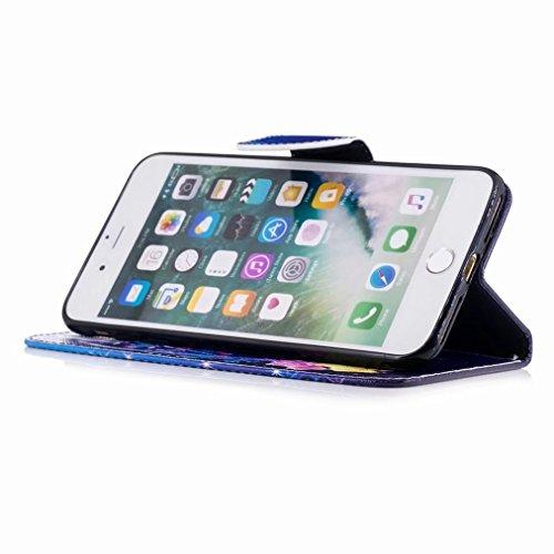 Yiizy Apple IPhone 7 Plus Cover Custodia, Farfalla Colorata Design Silicone Custodia Flip Cover Portafoglio PU Pelle Cuoio Copertura Case Slot Schede Cavalletto Stile Libro Bumper Protettivo Borsa