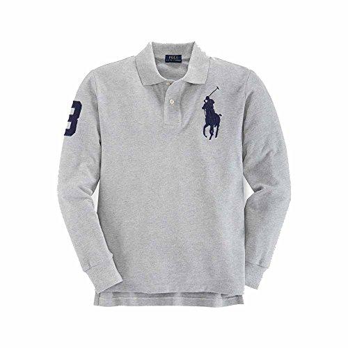 Boys (8-20) Big Pony Polo Ralph Lauren Shirt Long Sleeve Mesh Cotton (XL (18-20), Heather Grey)