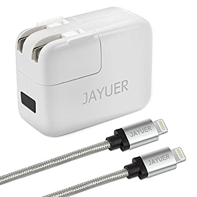 Jayuer USB Wall Charger Home Travel Dual Port Power Adapter for IPhone with 6ft 8inche Lightning Cables