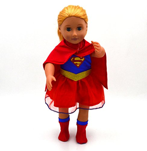 18inch Doll Outfit Dressup Clothing Set with Cloak for American Girl Cosplay Supergirl Costumes for Dolly Accessories