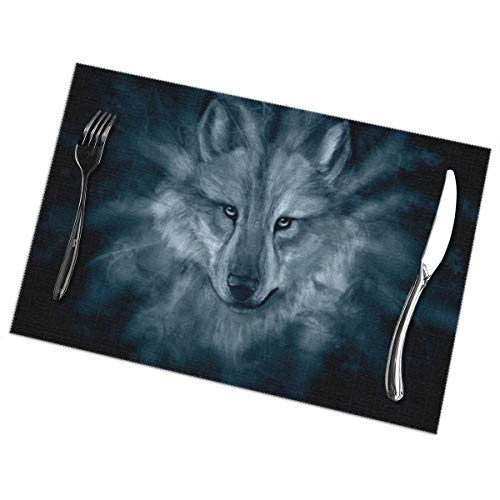 Affany Placemats for Dining Table, Heat Insulation Stain Resistant Table Mat Set of 6 Non Slip Washable Tray Mat Durable Place Mats for Kitchen Dining Room Table Decoration - Printable Wolf -