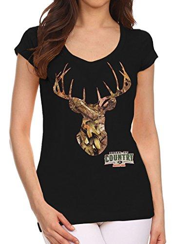 [Mossy Oak Camo Deer Head Junior's Black V-Neck T-Shirt Large Black] (Mossy Deer Camo)