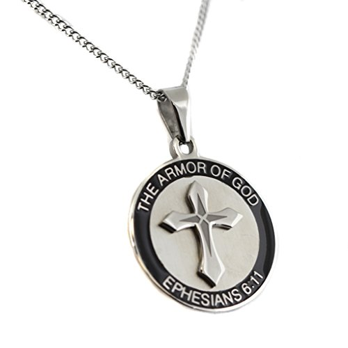 Armor of God Ephesians 6:11 Necklace With Black Border Armor of God Religious -