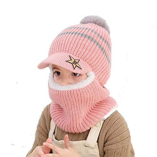 Wxllzlife Kids Winter Hat Baby Boys Knit Hat Baby Girls Thick Scarf Earflap Hood Scarves Skull Caps 2-7 Years