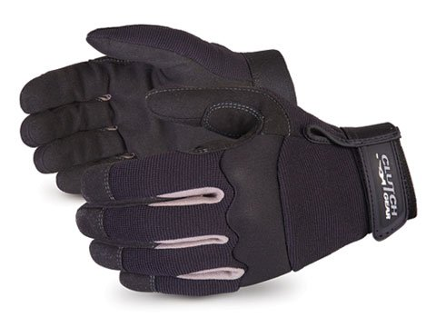 Superior MXBL Clutch Gear Synthetic Leather Mechanics Gloves, Water-Resistant Work Gloves (1 Pair of Medium Black Gloves)