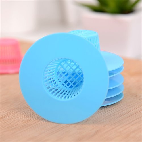 Stock Show 6Pcs Practical/Creative/New Free Size Plastic Sink Drain Strainer Hair Catcher, Blue